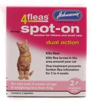 Johnsons 4Fleas Dog Dual Action Cat less than 4kg