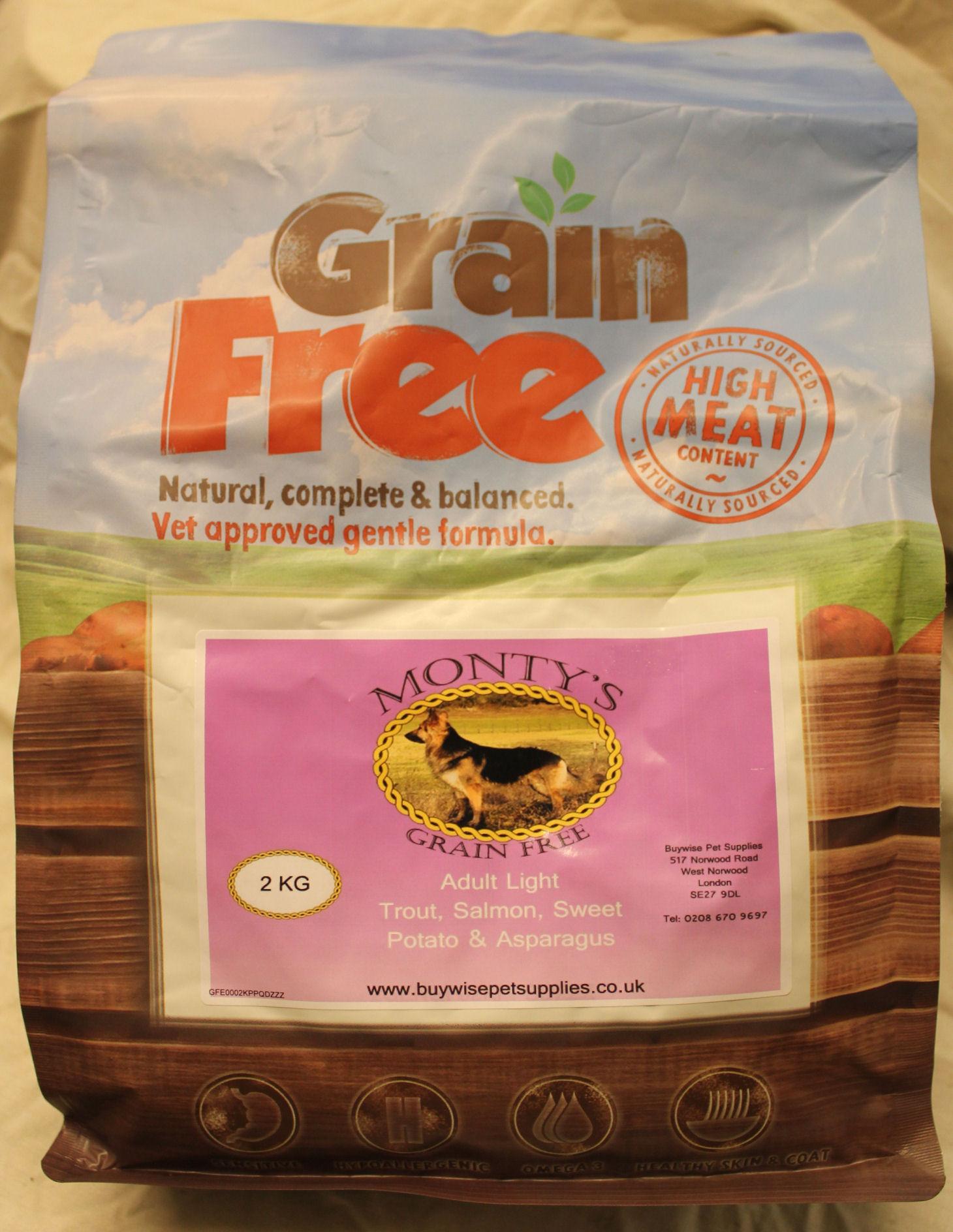 Montys Grain Free Adult Light Trout with Salmon, Sweet Potato & Asparagus 2kg