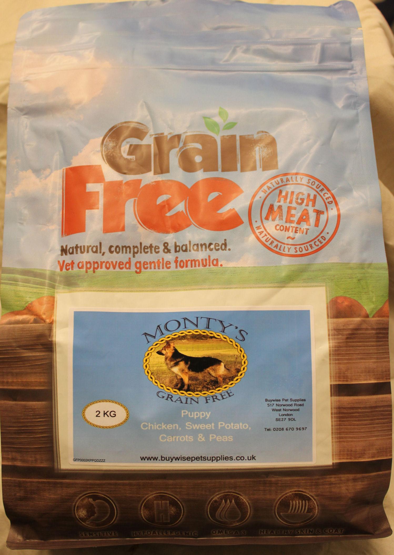 Montys Grain Free Puppy Chicken with Sweet Potato, Carrots & Peas 2kg