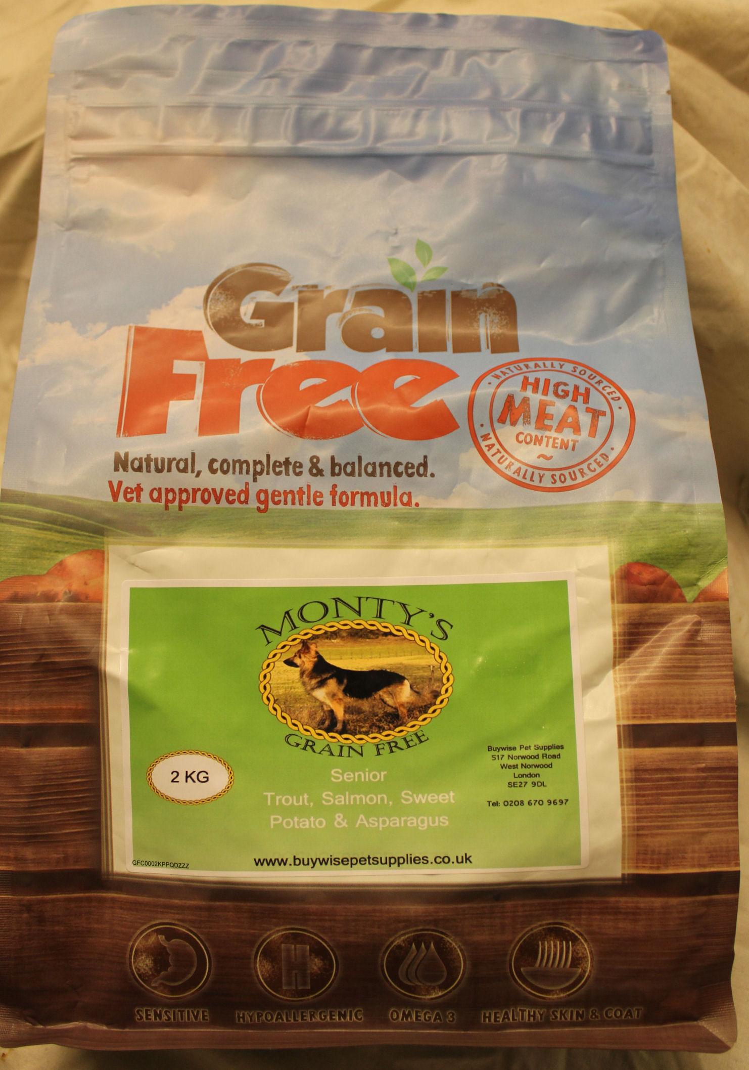 Montys Grain Free Senior Trout with Salmon, Sweet Potato & Asparagus 2kg