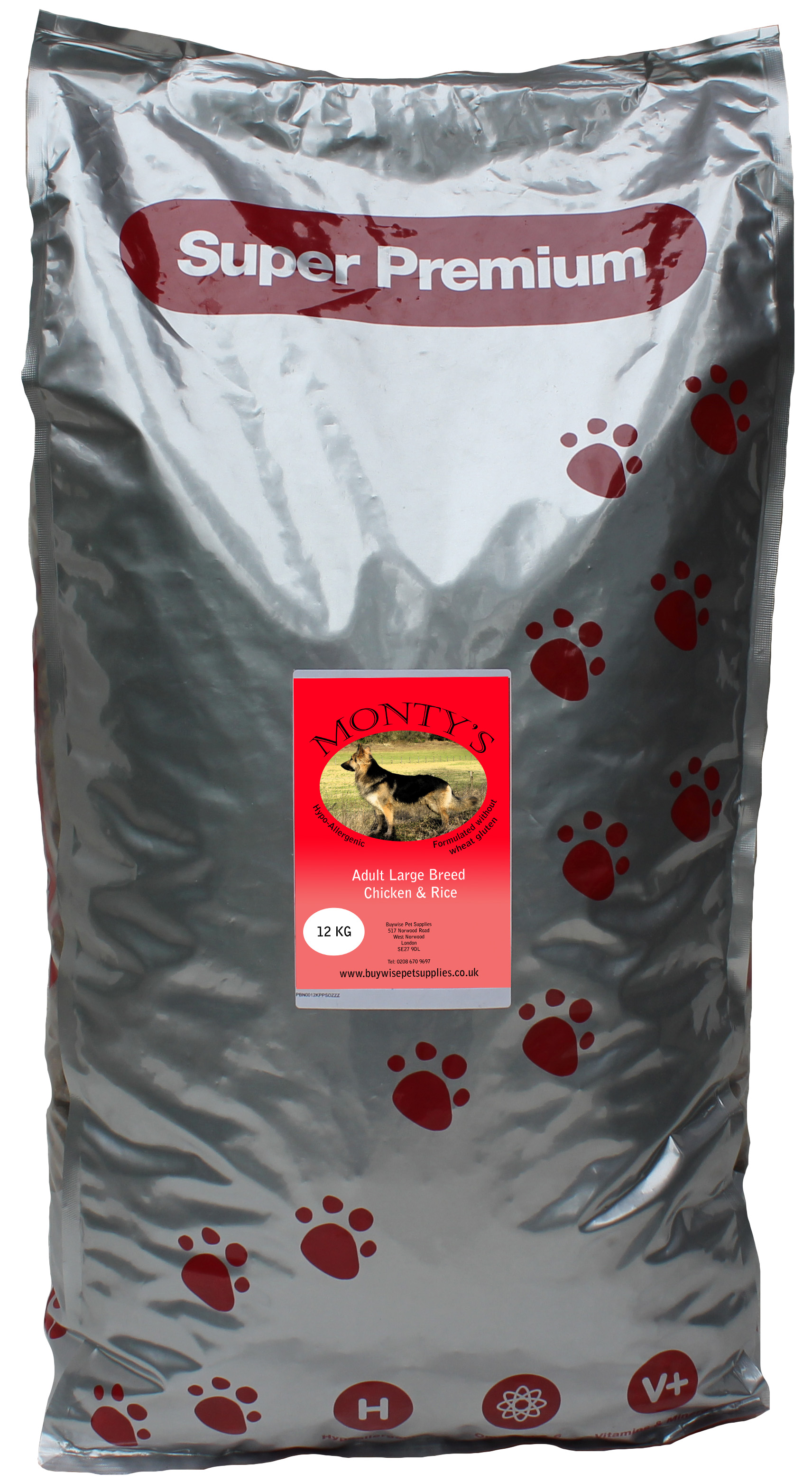 Montys Large Breed Adult Chicken & Rice 12kg