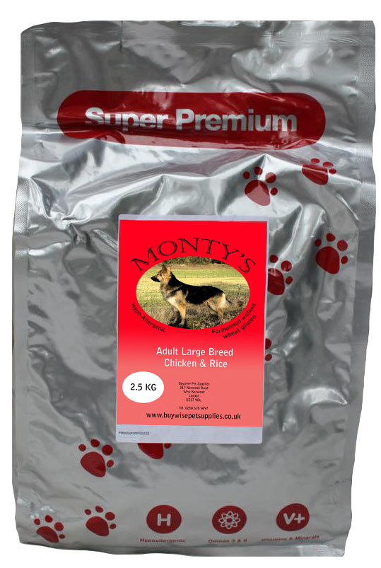 Montys Large Breed Adult Chicken & Rice 2kg